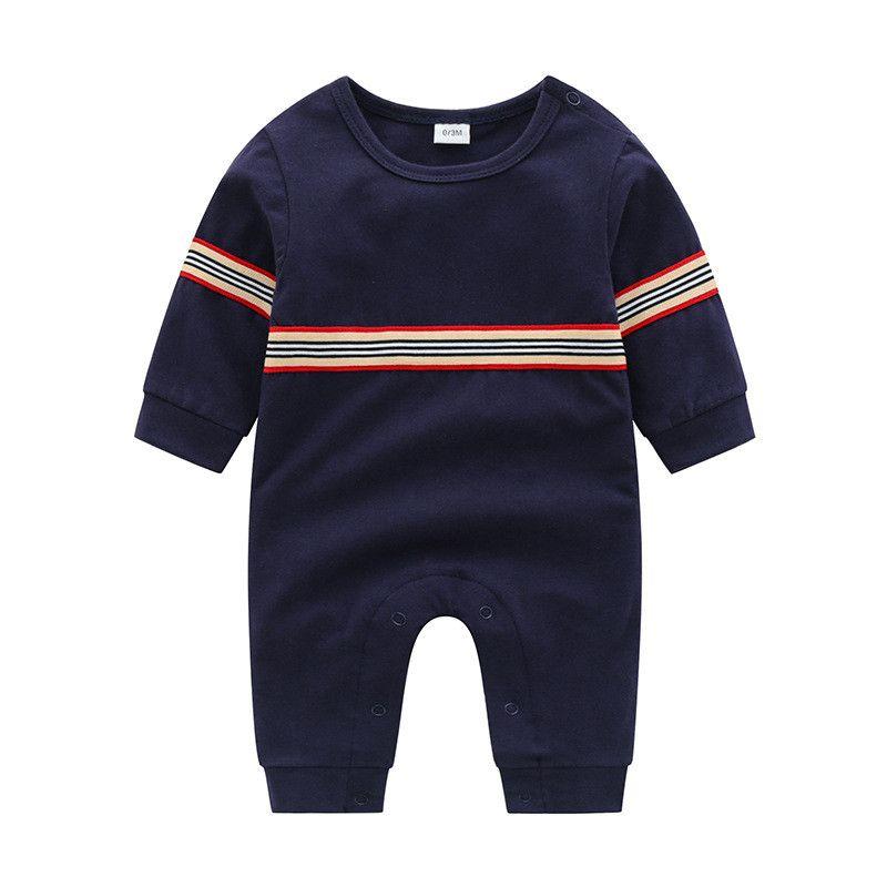 kış kız erkek şerit bebek tulumlar çocuklar uzun kollu O-boyun giyim için yeni doğmuş bebek tulum moda bebek pamuklu giysiler