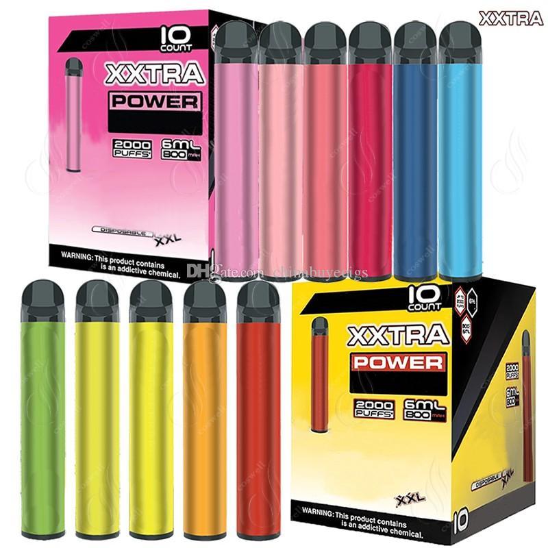 Bang XXL XXTRA Device monouso Device Pen 2000Puffs 800mAh Batteria di alimentazione Pre-riempita 6ml Pods Cartucce 6ml Cartucce vapor e sigaretta VAPorizzatore portatile