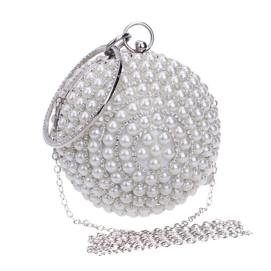 Evening Bags Oewpg Bag Clutch 2020 Round Women Designer Party Classic Wedding Bag Luxurys Ban Shoulder Purse For Pearl Rhinestone Handb Thrr