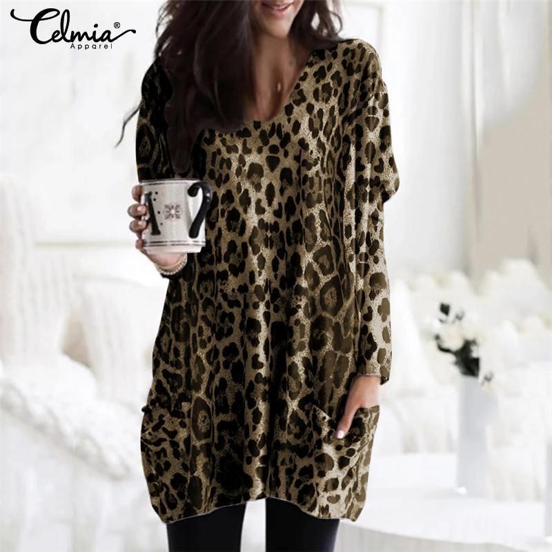 Плюс размер туники TOPS женские блузки Celmia Sexy V шеи леопардовые рубашки с длинным рукавом повседневные свободные карманы Blusas FemininiNAS 5XL Y200403