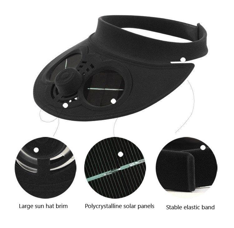AREYOURSHOP Yaz Güneş Şapka Güneş Enerjisi Hava Fanı Cap ile Boş Cope Visor Taktik Ekipman Aksesuarları Parçaları