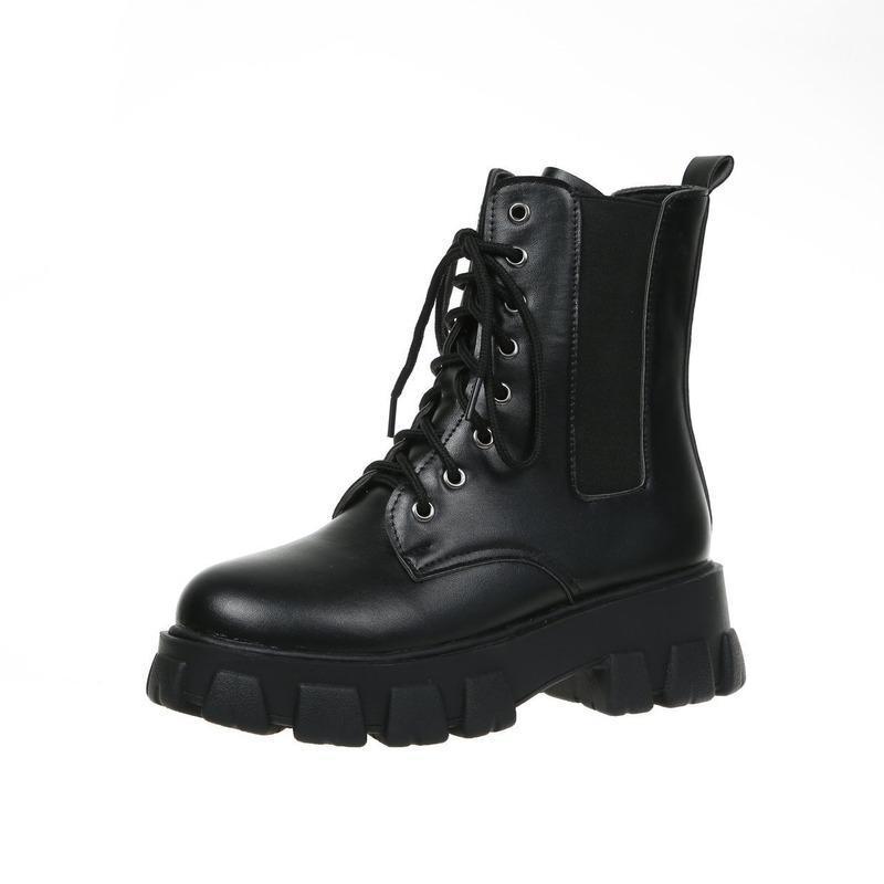 Çizmeler Kadın Ayakkabı Kadın Platformu Kısa Boot Motosiklet Botları İngiliz Rüzgar Dantel-Up Öğrenciler Tüm Maç Ince Trend Ayakkabı
