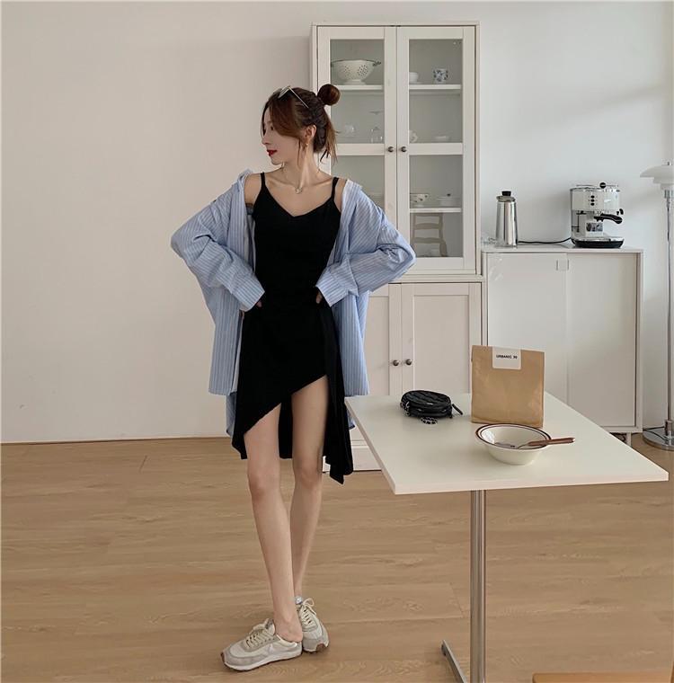 Der Frühherbst 2020 koreanische Stil Mitte Kleid slingSling Schlinge lange Langarmhemd unregelmäßigen Bund zeigen dünnen Straps Kleid Satz U gestreift
