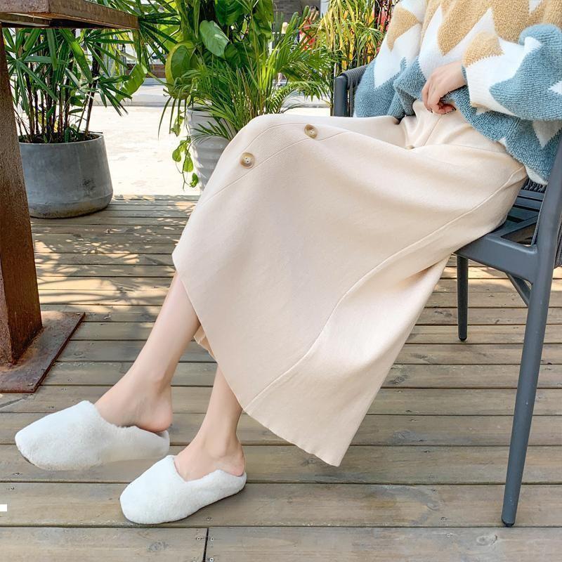 Sonbahar 2021 Yeni Vintage Kadın Mesh Zarif Moda Düz Renk Yüksek Belli Uzun Sevimli Düğme Etek Plissada Y321 Ounv