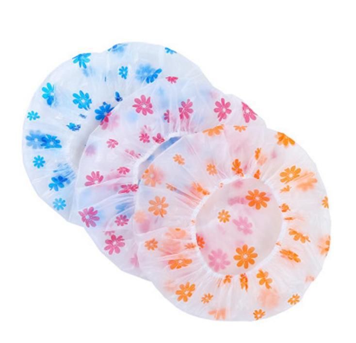 Resuable Dantel Elastik Bant Banyo Saç Kapaklar Anti-Duman Şapka Sevimli Çiçek Su Geçirmez Duş Başlığı Kadın Karikatür PVC Yıkama Yüz Saç Kapağı Birçok