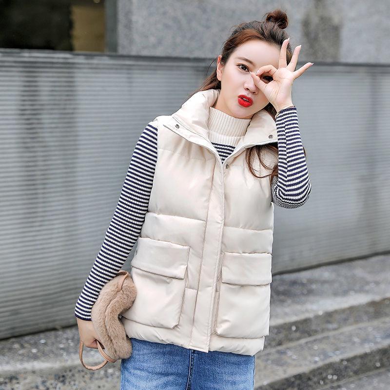 2021 Chaleco de invierno Mujeres sueltas de cintura de longitud media femenina chaqueta sin mangas A046
