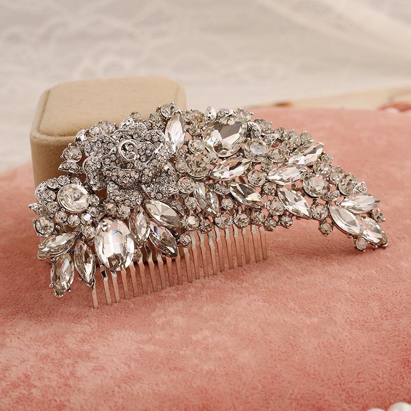 Temizle Rhinestone Kristaller Düğün Gelin Gelin Saç Aksesuarları 2020 Çiçek Saç Tarak Başkanı adet Saç iğneler Takı Aksesuar