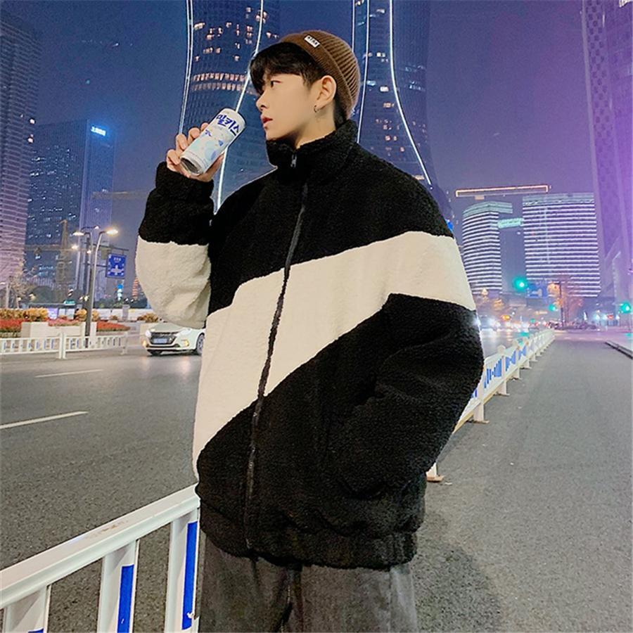 Fasion IG QLI Зима Новый Natcing Color LA LAM Хлопок мягкое пальто Мужской Корейский Версия Свободная Куртка Студенты Ong Kong S-3XL # 166 # 91312