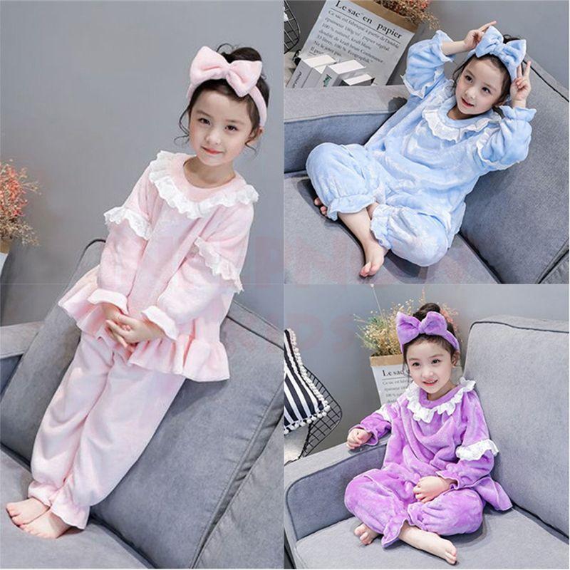 Velvet Christmas Children Pijama Conjuntos para niñas Boys Pijamas Kids Sleepwear Ropa de bebé + Headwear Girls Pijamas 2-8YEARS 201104