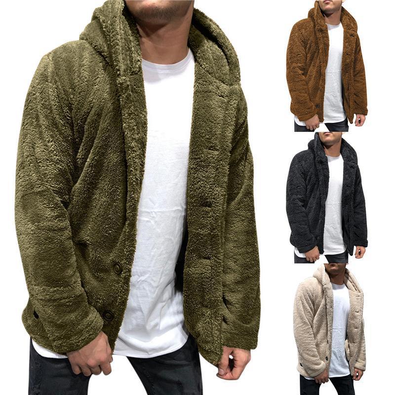 Mens Buttons 코트 따뜻한 가짜 모피 겨울 캐주얼 느슨한 양면 봉제 까마귀 솜털 양털 모피 재킷 후드 코트 아웃웨어