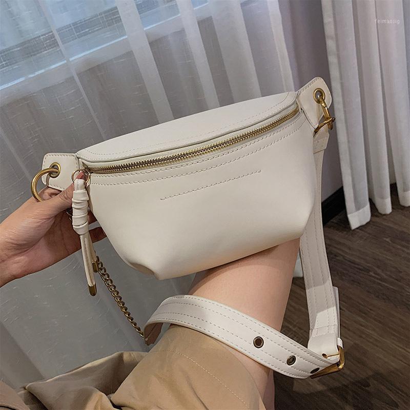 Moda kadın bel çantaları 2020 Yeni Bayanlar Omuz Çantası Marka Tasarım Göğüs Çantası Crossbody Çanta Yüksek Kalite PU Zincir Fanny Pack1