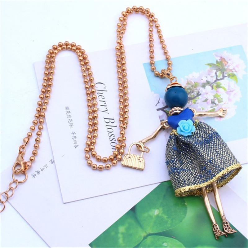 Korea Handmade Alloy Fabric Doll Pendant Necklace Fall Winter Long Sweater Chains for Girl Woman Fashion Jewelry-DQAWNL020E