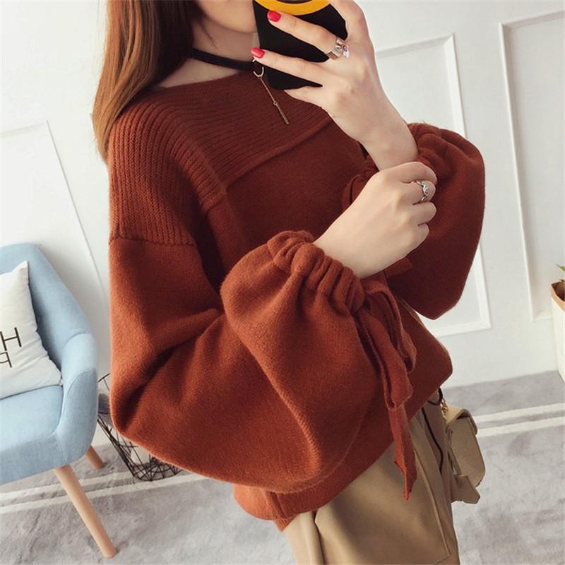 Neue Frauen-Pullover Coarse Wollpullover Warm Spring Herbst-Winter-beiläufige Sleeved Pullover 201017