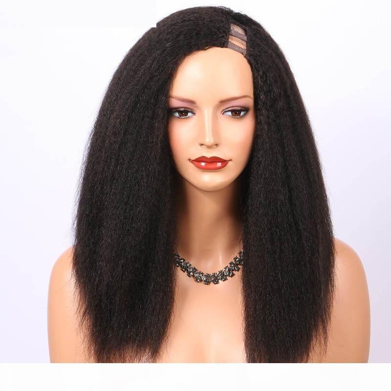 U Parça İnsan Saç Peruk Siyah Kadınlar Için Kinky Düz İtalyan Yaki Perulu Bakire Saç Upart Peruk Sol Yan Parça Ön Kopardı Saç Çizgisi