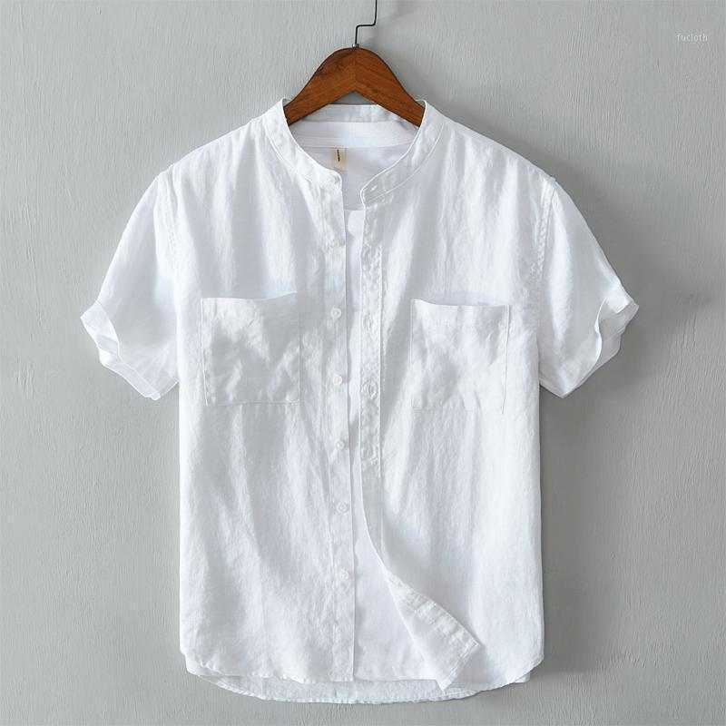 Мужские повседневные рубашки уникальный дизайн с короткими рукавами стенд воротник рубашки мужчины бренд чистое белье для удобной мужской химии Camisa1