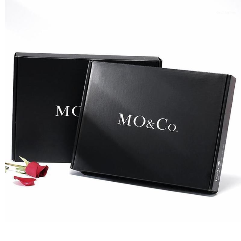 Envoltório de presente 100 pcs personalizado de alta qualidade papel corrugado caixas de papel pretas impresso vestido embalagem e wigs de cabelo caixa1