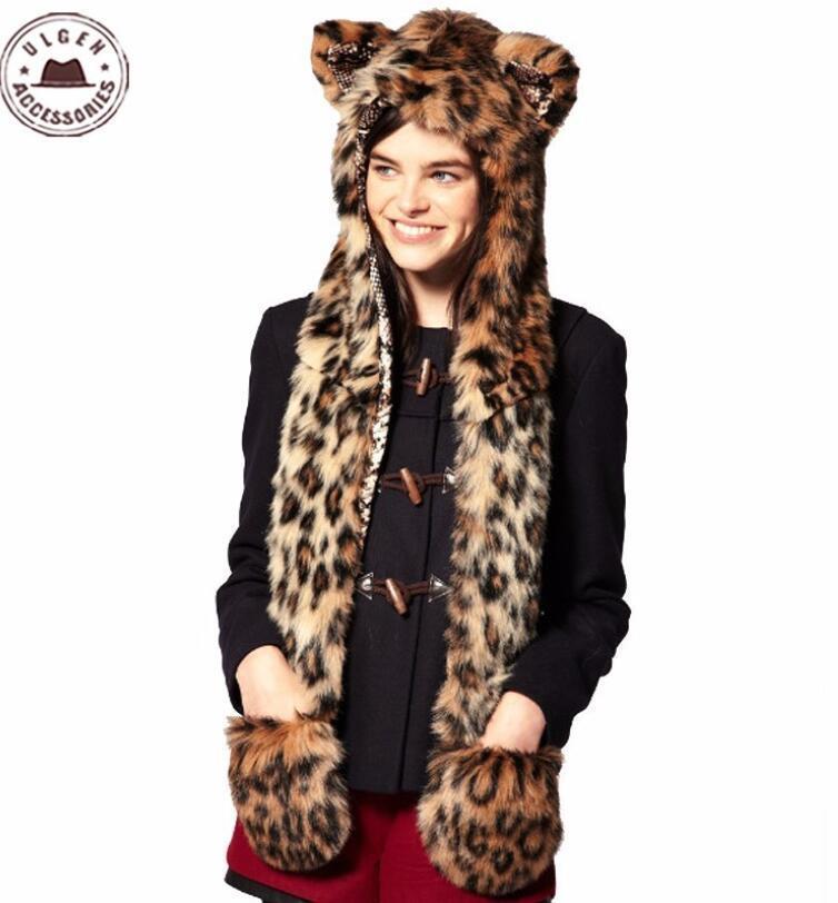 Шляпы, шарфы перчатки устанавливают Европу и Соединенные Штаты Осень зима Длинноволосая имитация меховой шляпы женщин супер крутой шарф один теплый