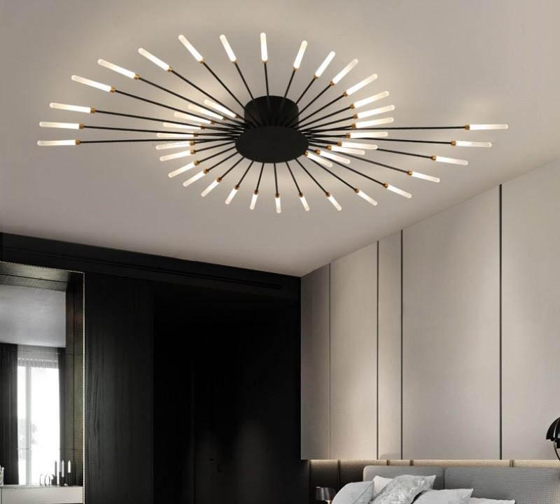북유럽 창조적 인 천장 샹들리에 거실 간단한 현대적인 분위기 가벼운 럭셔리 개인 객실 침실 골드 불꽃 놀이