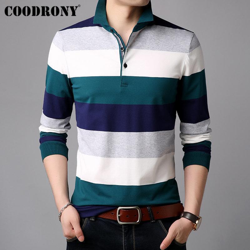 COODRONY Uzun Kollu T Shirt Erkekler Çizgili Casual Streetwear Tişört Yumuşak Pamuk Tee Gömlek Homme Yatak açma Yaka T-Shirt Erkekler 95012 201004