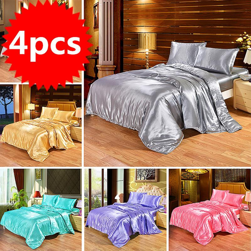 4 pcs luxuoso conjunto de cama de seda Satin Queen King Size Size Set Construter Quilt Duvet Cobertura Roupa de cama com fronhas e folha de cama C1020