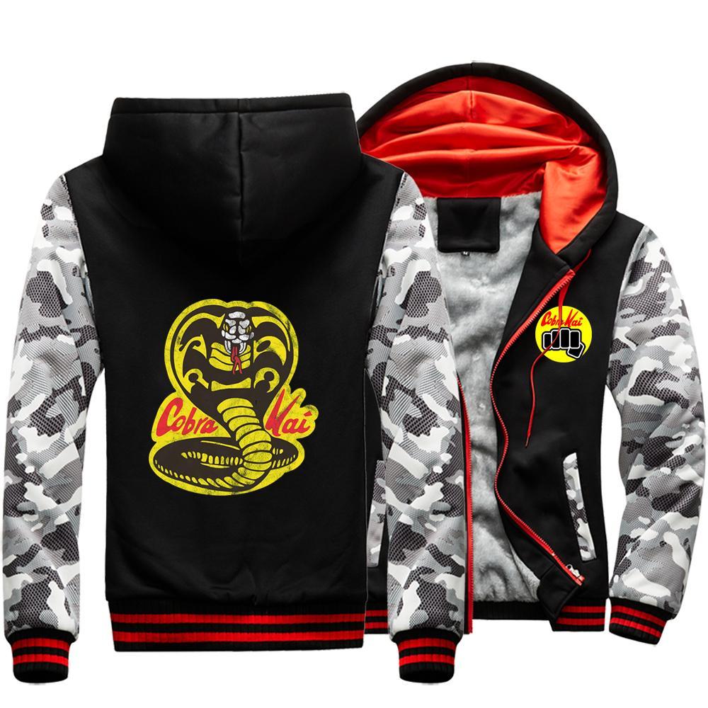 Cobra Kai Outwear hommes d'hiver épais Hipster d'homme Pulls grève First Strike Rigide Mercy Streetwear Vêtements Vestes Camo chaud X1022