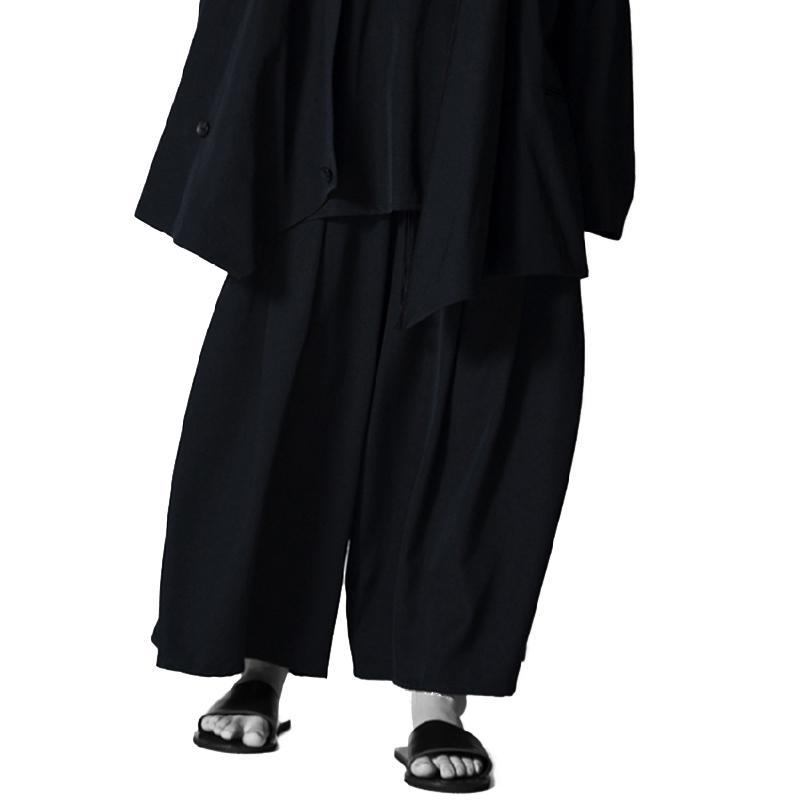 Yamamoto Yohji Personnalité noire sombre Populaire pantalon décontracté drapé ridé à jambe large jambe pantalon jeunesse polyvalent surdimensionné capris
