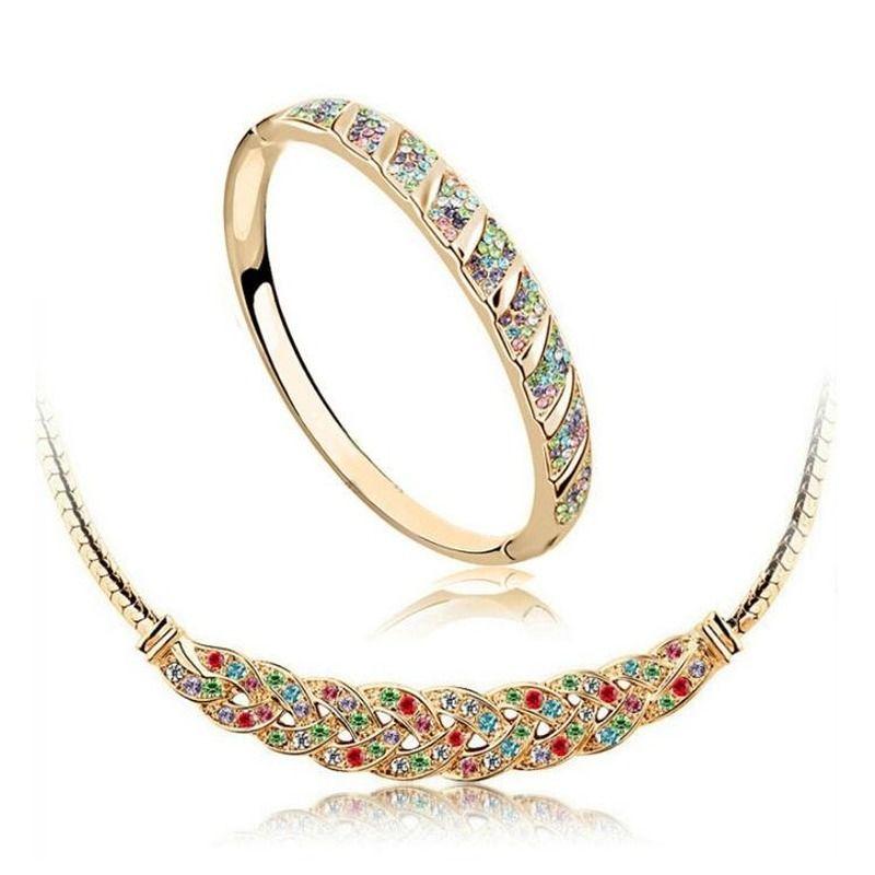 الفالس سوار قلادة مجموعة كاملة حجر الراين سبائك مجوهرات مجموعة 18 كيلو النمساوي كريستال مجوهرات للنساء أفضل هدية 1018