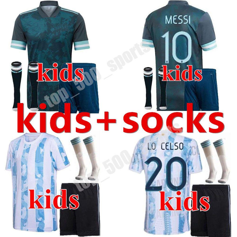 2020 소년 청소년 아르헨티나 축구 유니폼 20 21 Copa América Messi Aguero 축구 셔츠 Dybala Lautaro 저지 키트 키트 유니폼