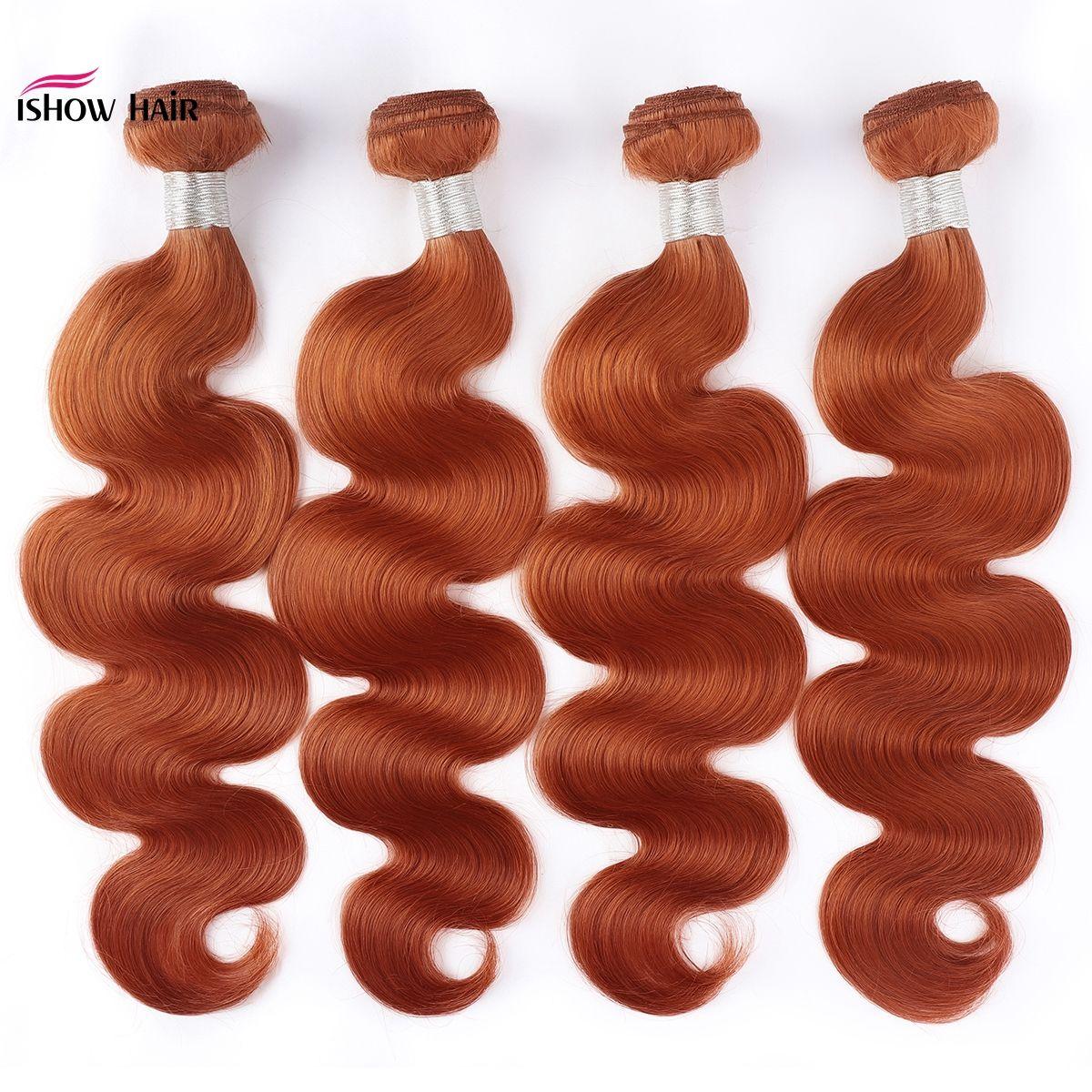 Ishow Новое поступление бразильские волосы плетение пучков оранжевый имбирь Remy человеческие волосы пучки перуанские человеческие наращивания волос бесплатная доставка