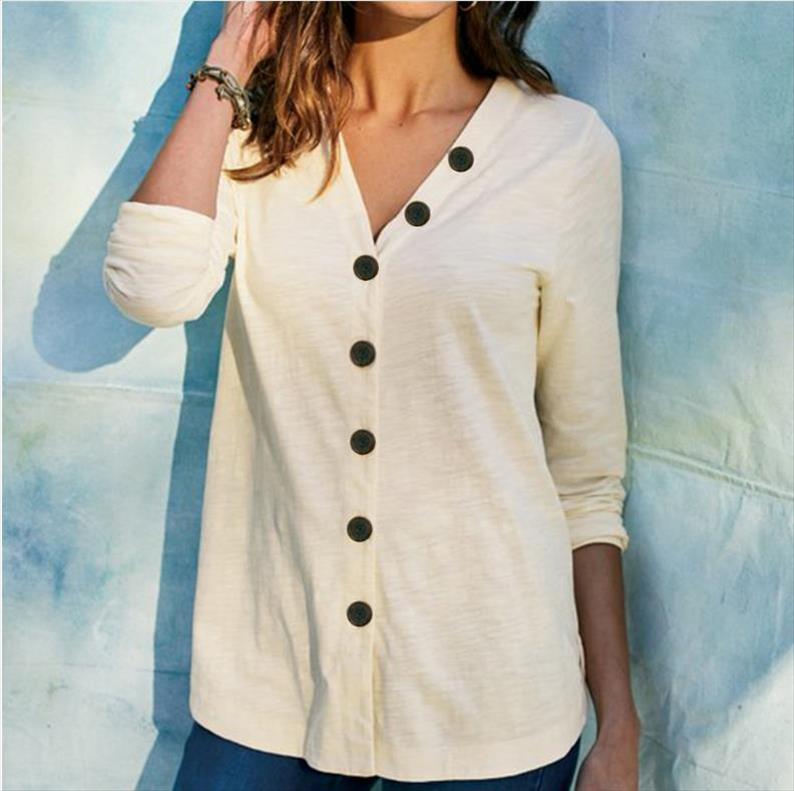 Gömlek Bluz Moda 2021 Sonbahar Kış Büyük Boy Üstleri Kadınlar Rahat V Boyun Gömlek Bayanlar Gevşek Çiçek Baskı Tunik