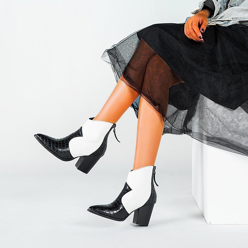Zapatillas de vestir 2021 Primavera Otoño Zapato Motocicleta Botas de vaquero occidental Mujer Snake Pattern PU Cuero Tacones altos Cowgirl Botines Tobillo Botas 43