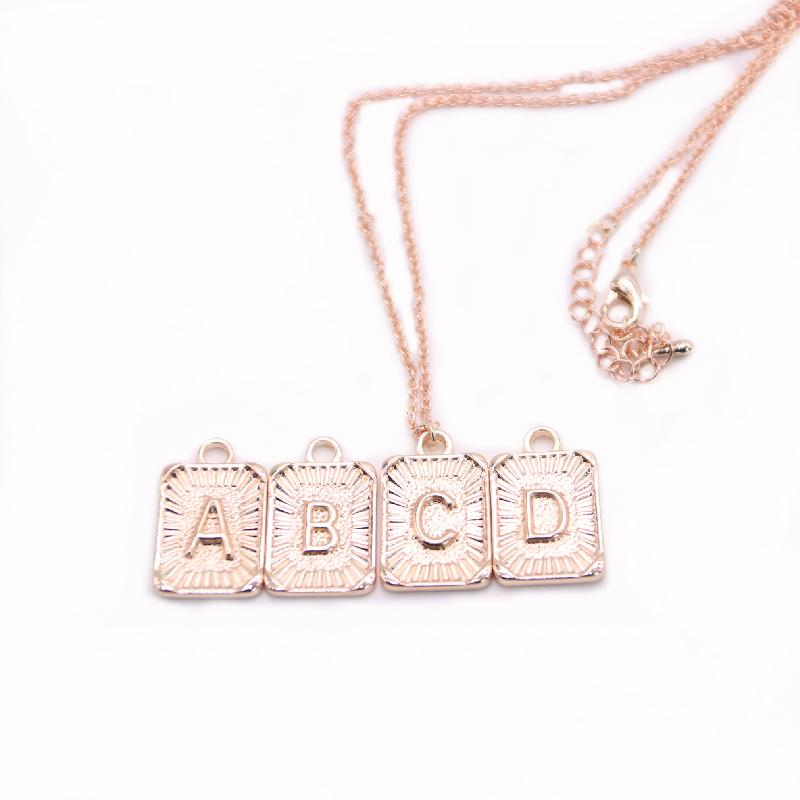 Trend Classic ABCD Letters Necklace Zinc Alloy Material Nameplate Pendant Three Color Optional Suitable for Men And Women
