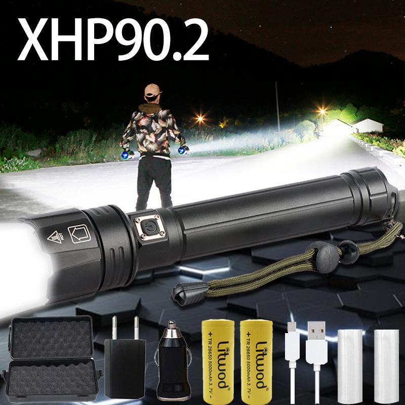 XHP90 Potente linterna LED recargable USB modo de táctica de la antorcha 3 XHP70.2 ampliable Xlamp 18650 26650 luz Battey para acampar Y200727