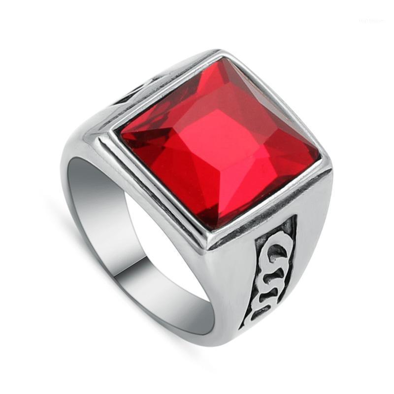 Roter Stein Ring Quadrat Kristall Herren Edelstahl Fingerringe Männliche Modeschmuck Vintage Stil Party Geschenk Großhandel (A122) 1