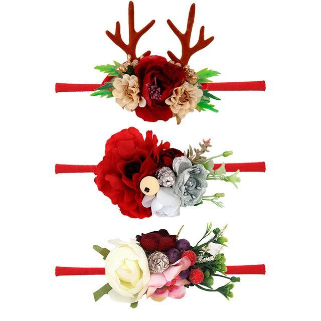 3 pièces / lots 2020 Bébé Antlers Noël Bandeau danse Ballet fleurs artificielles Elastic cheveux Bande de Noël Accessoires cheveux