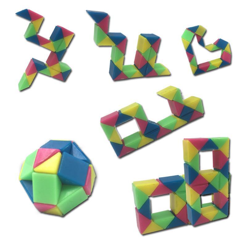 섹션 매직 큐브 뱀 눈금자 매직 스네이크 트위스트 퍼즐 매직 통치자 휴대용 IQ 내구성 어린이 교육