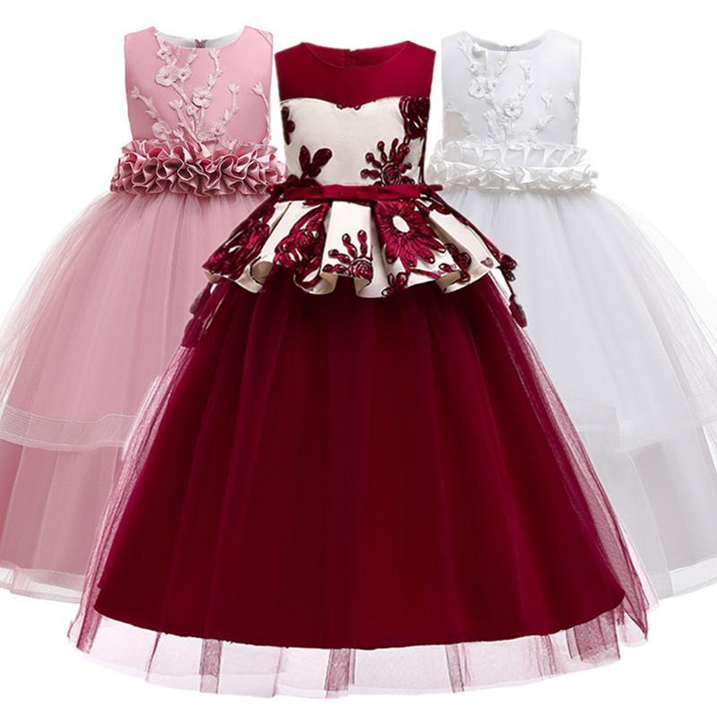 Flower Girl Dresses Lace Tulle 3-14 Years New Appliqued Pageant Dresses For Girls First Communion Kids Prom