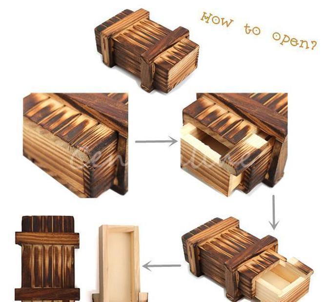 Vintage Storage en bois Cache Cadeau Cadeau Cadeau Secret Tiroir Secret Teaser Puzzle Box Coffre Toy Coffre Toysducatinal Jllnmd Ly_bags