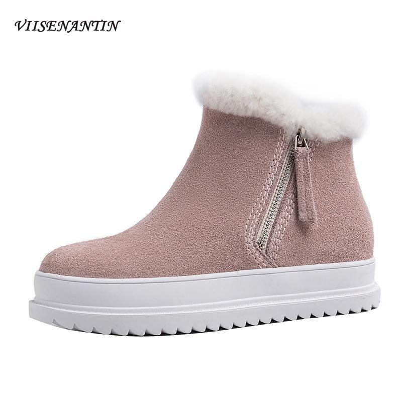 Sonbahar Kış Sıcak Yeni Kore Stil Gündelik Kar Boots Kalın tabana vurma Büyük Beden Bayan Çizme Buzlu Deri ayak bileği tutun