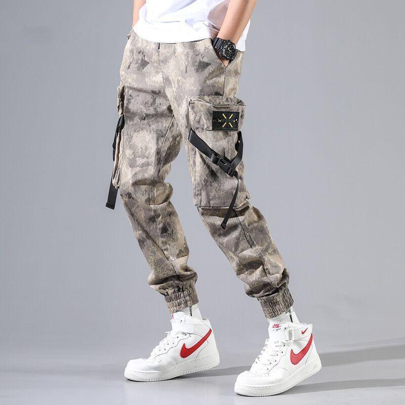 Nueva Harajuku algodón Multi-pantalones de los bolsillos estilo de la moda de Carga de Hip Hop de los hombres otoño de Calle Pantalones ocasionales elásticos Camo