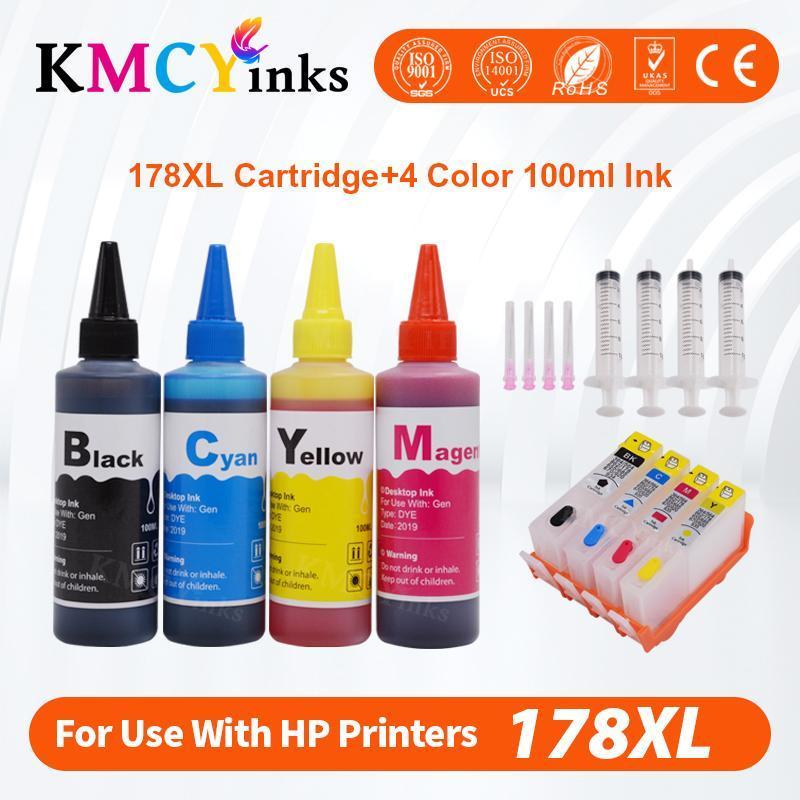 Kmcyinks Doldurulabilir Mürekkep Kartuşu Için 178 178XL Photosmart için B109N B110A 5510 5520 5515 5521 6521 Yazıcı + 400 ml Mürekkep