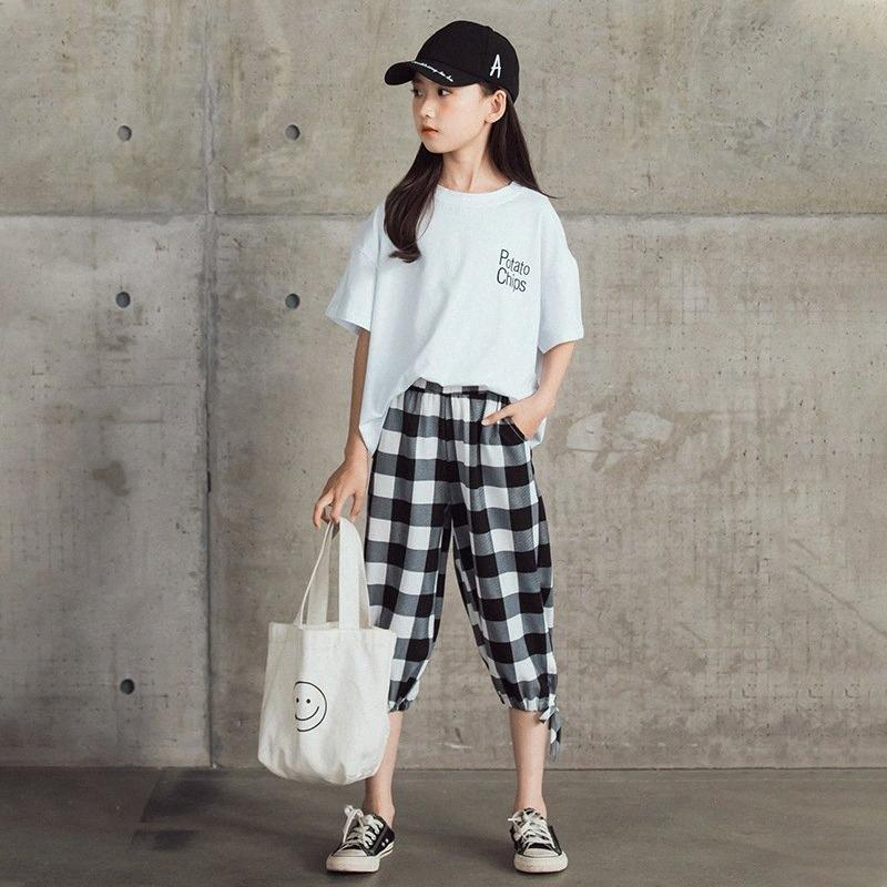 Meninas do verão Roupa Set 2020 New adolescente meninas Cotton T-shirt e calças xadrez Set-coreano Crianças Casual Two-Piece Moda, # 0136 7mq5 #