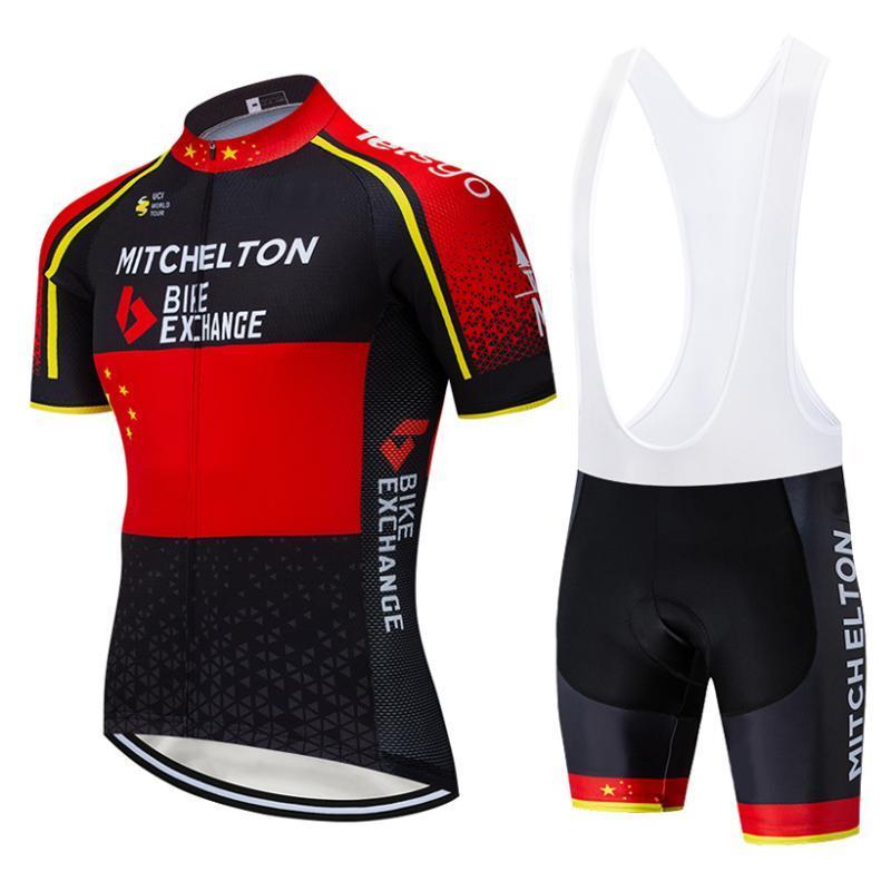 Novos 2020 Mitchelton Jersey Ciclismo equipa 20D shorts da bicicleta definir Quick Dry Ciclismo homens roupas de verão Pro Cycling Maillot desgaste