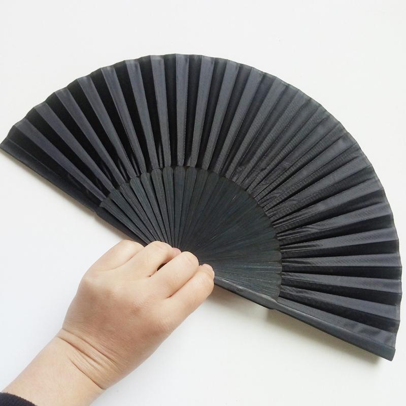 men's Folding Black plain silk fan Wedding Party