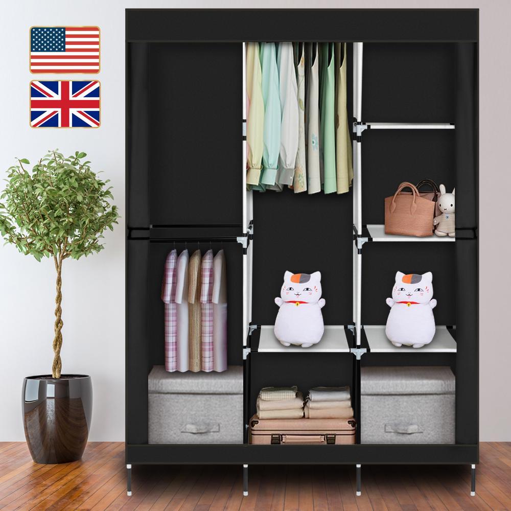 Stock en US UK 71 pouces Portable Vêtement de vêtement Portez-vous en tissu non tissé Armoire de stockage à 4 niveaux organisateur de stockage