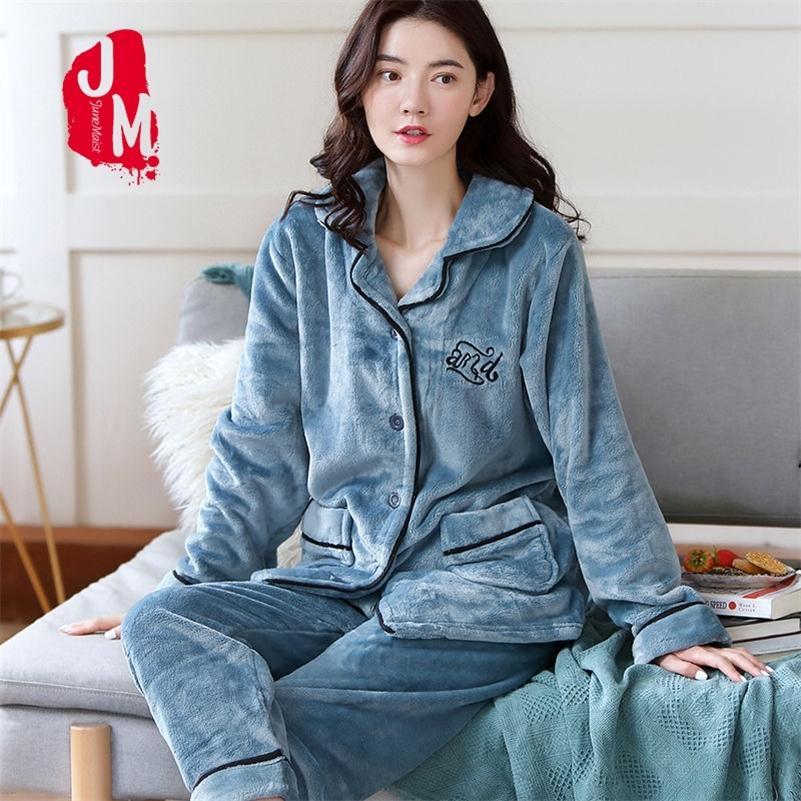 Pijama Kadınlar Mercan Polar Kalın Flanel Katı Sıcak Pijamas Kadınlar Kalın Kış Ev Takım Elbise Pijama Takım Elbise Homewaer Sleep XXL XXXL 201031