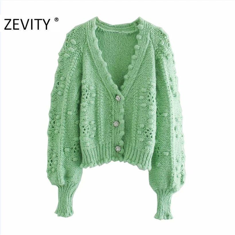 ZEVITY Yeni Kadın Moda V Boyun Topu Aplikler Hırka Örgü Kazak Bayan Uzun Kollu Rahat Düğmeler Kazak Şık S387 201221 Tops
