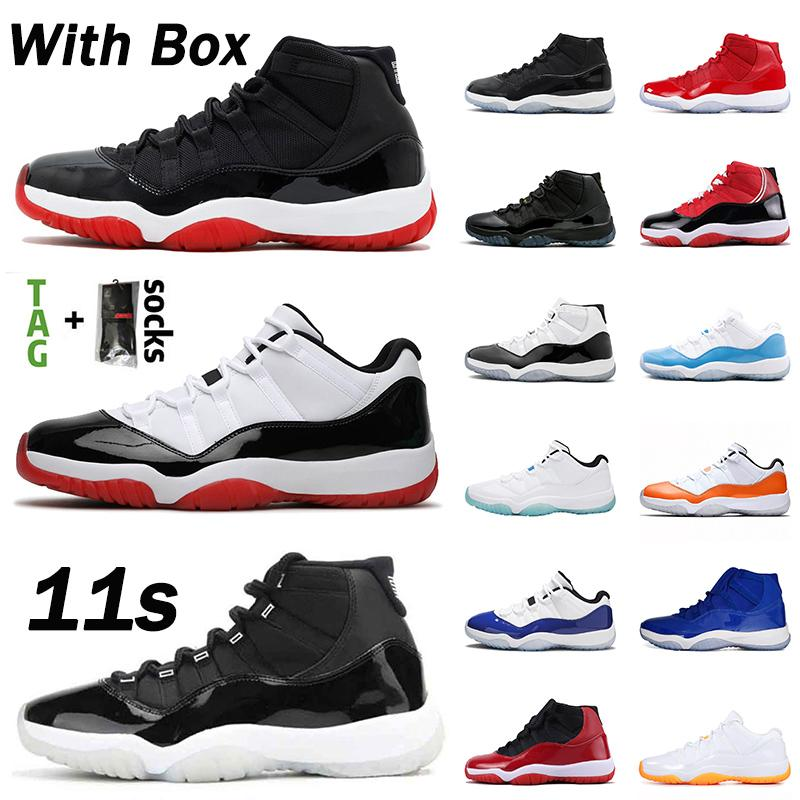박스 stock X 주식 jumpman retro 11 농구 신발 11S 남성 여성 공기와 2020 선물 높은 낮은 새틴 콩코드요르단레트로 스페이스 잼 스니커즈