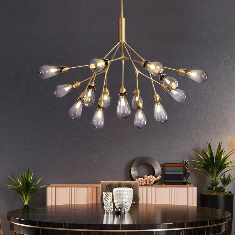 Nordic lujo LED de estar Sala isla lámpara de mesa de comedor Lámpara del dormitorio colgante creativo rama cobre decoración de iluminación
