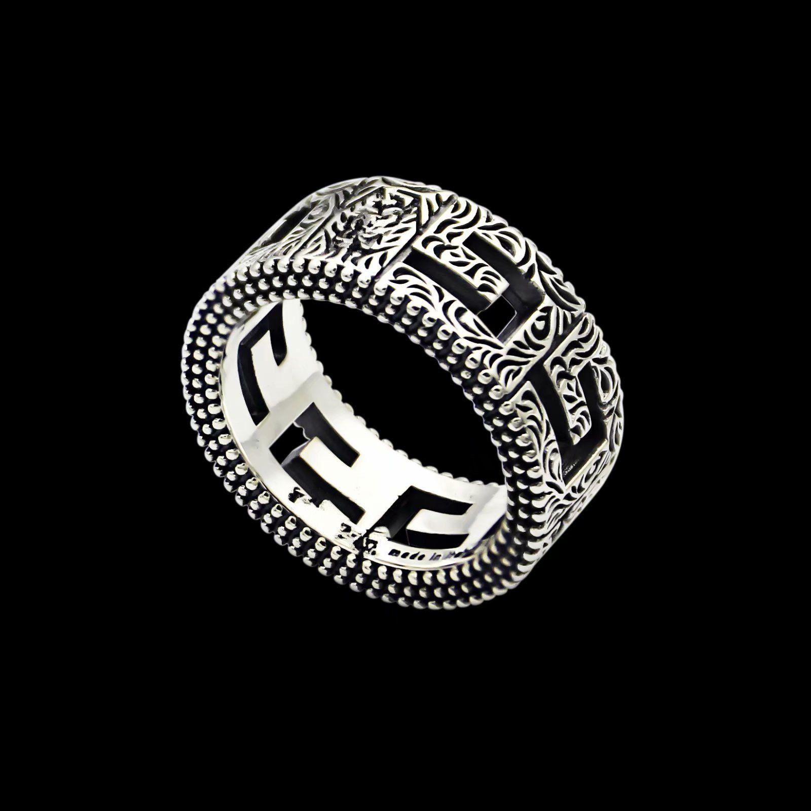 Новое поступление ретро стиль леди титановый сталь резные цветочные конструкции G письмо свадебный участие кольца Size6 - 9